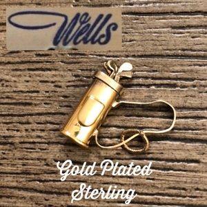Vintage WELLS Golf Bag Charm Gold Plated Sterling